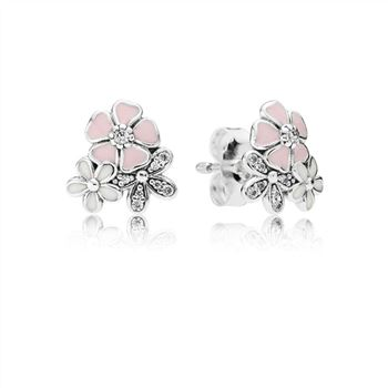Pandora Poetic Blooms Stud Earrings, Mixed Enamels & Clear CZ 29