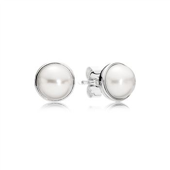 Pandora Elegant Beauty Stud Earrings, White Pearl 290727P