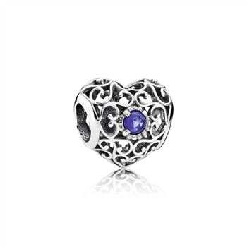Pandora September Signature Heart Charm, Synthetic Sapphire 7917