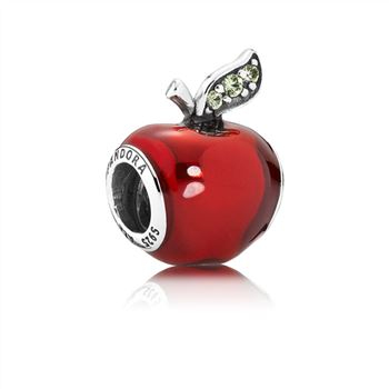 Pandora Disney, Snow White's Apple Charm, Red Enamel & Light Gre