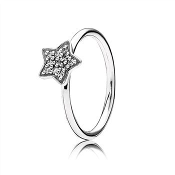 Star silver ring with cubic zirconia 190891cz