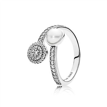 Pandora Luminous Glow Ring, White Crystal Pearl and Clear CZ 191