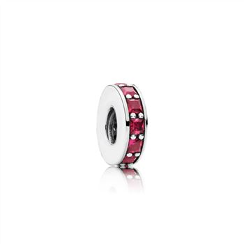 Abstract silver spacer with synthetic ruby 791724SRU