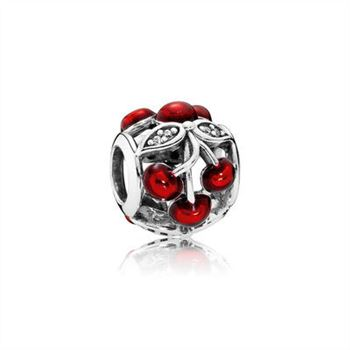 Cherry silver charm with clear cubic zirconia and red enamel 791