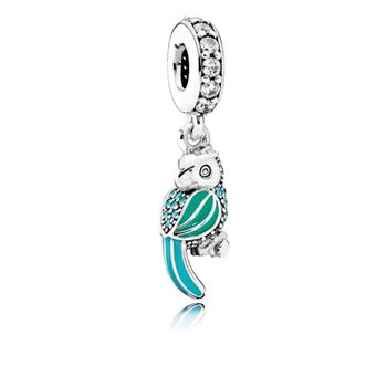 Pandora Tropical Parrot Dangle Charm, Mixed Enamels, Teal & Clea